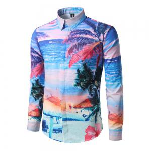 Men'S Leisure Holiday Beach Stamp Repair Long Sleeved Shirt DC64 -