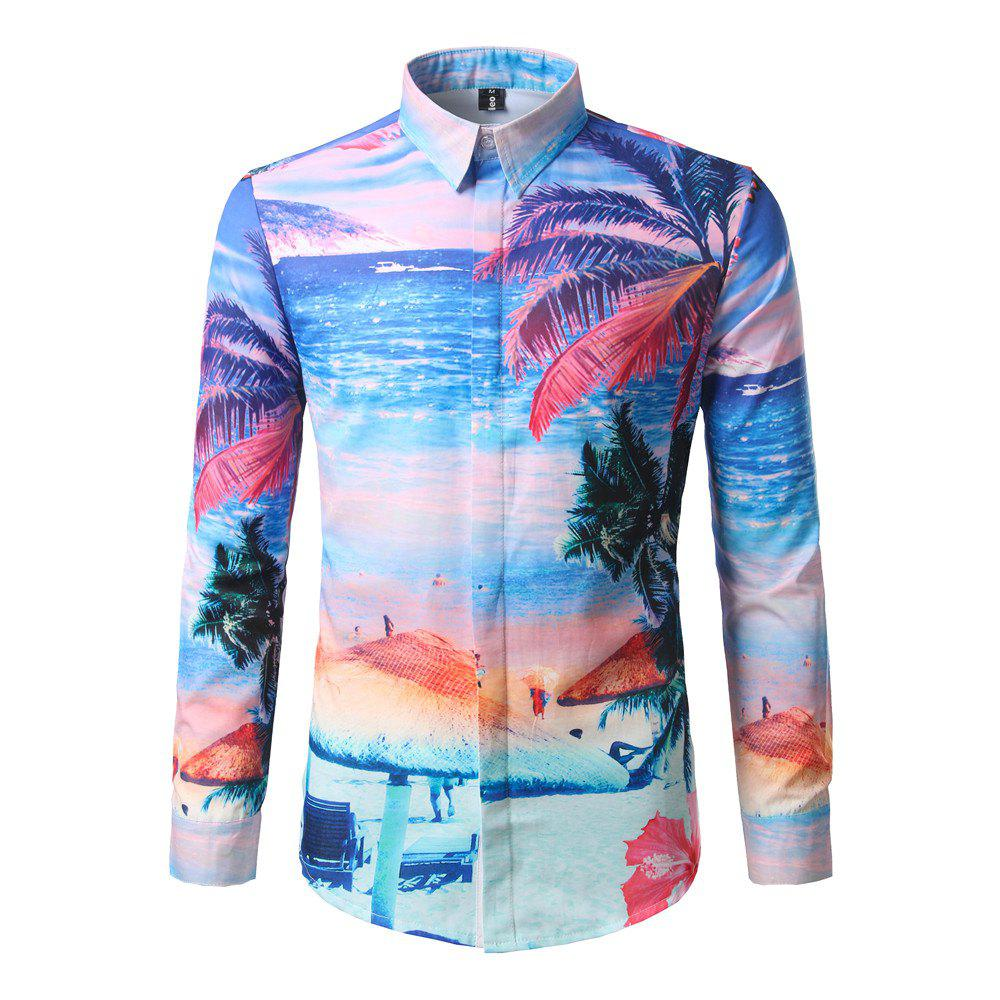 Affordable Men'S Leisure Holiday Beach Stamp Repair Long Sleeved Shirt DC64