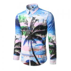 Holiday Clothing Fashion Palm Print Men Repair Long Sleeved Shirt DC63 -