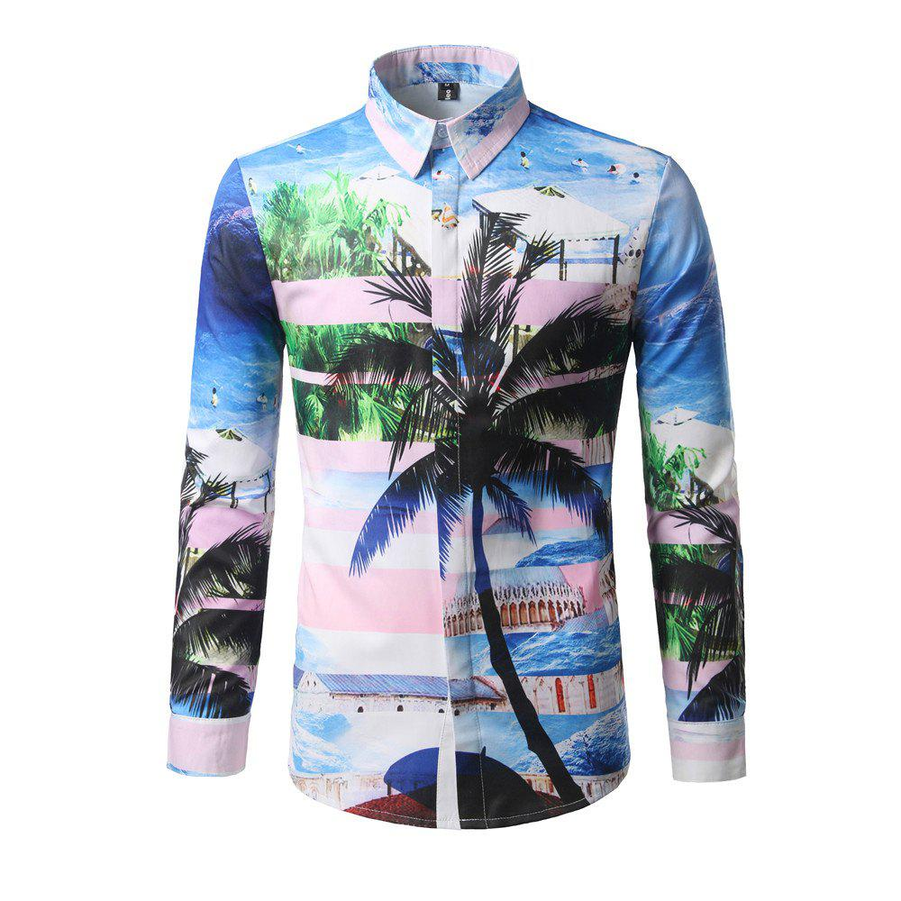 Fashion Holiday Clothing Fashion Palm Print Men Repair Long Sleeved Shirt DC63