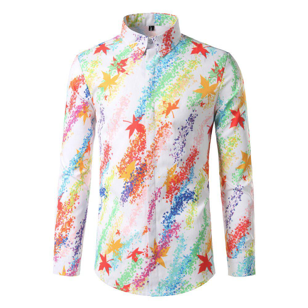 Trendy Foreign Trade Men'S Color Digital Printing Leisure Body Repair Long Sleeved Shirt DC62