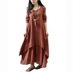 Casual Daily Simple Chinoiserie Loose Solid Round Collar Maxi Long Sleeves Cotton Polyester Dress -