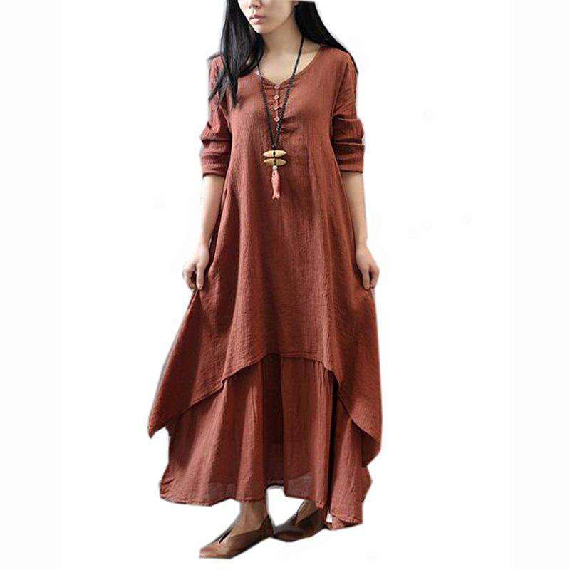 Latest Casual Daily Simple Chinoiserie Loose Solid Round Collar Maxi Long Sleeves Cotton Polyester Dress