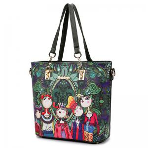 Six Pieces of Forest Handbags Graffiti Ladies Hand Shoulder Diagonal Package -
