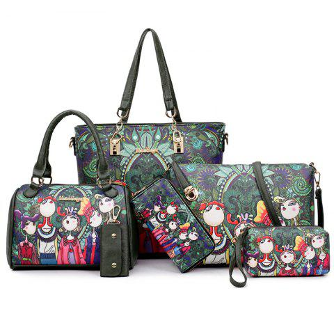 Trendy Six Pieces of Forest Handbags Graffiti Ladies Hand Shoulder Diagonal Package