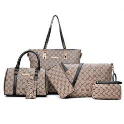 Six-Piece Shoulder Bag Korean Fashion Printing Handbag -