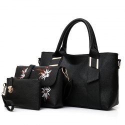 Three-Piece Embroidery Embossed Shoulder Messenger Bag Handbag -