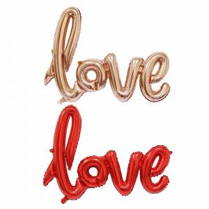 YEDUO  Ligatures LOVE Letter Foil Balloon Anniversary Wedding Valentines Party Decoration Champagne Cup Photo Booth Prop -