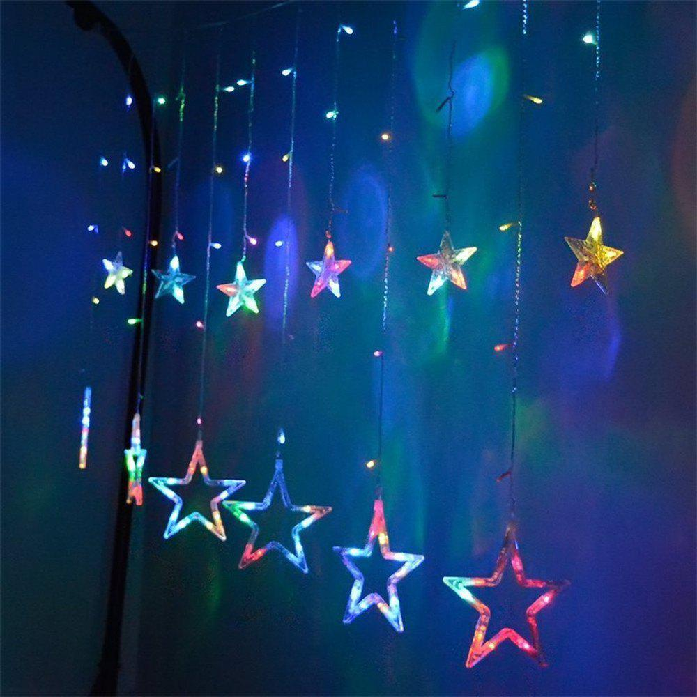 Hot SUPli Star Curtain Lights 8 Modes With 12 Stars 138 LEDs Waterproof Linkable String