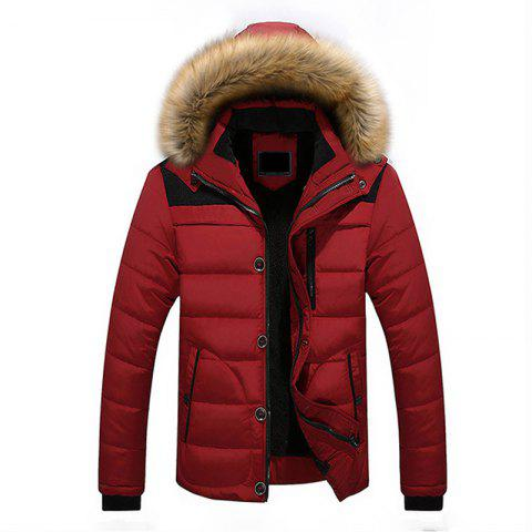 Buy Winter Casual Outdoor Thicken Warm Plus Size Furry Hooded Jacket Coat for Men