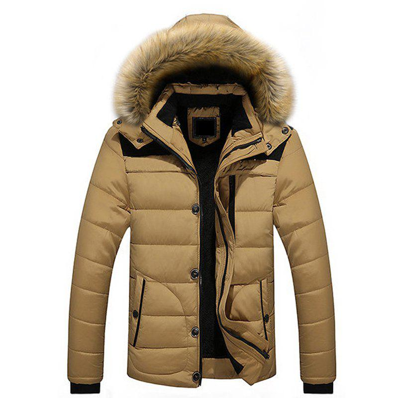 Trendy Winter Casual Outdoor Thicken Warm Plus Size Furry Hooded Jacket Coat for Men