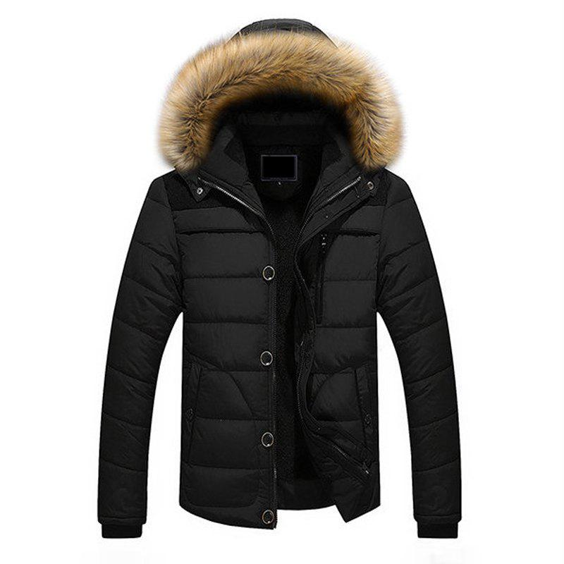 New Winter Casual Outdoor Thicken Warm Plus Size Furry Hooded Jacket Coat for Men