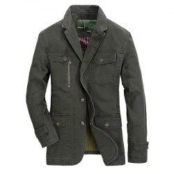 Plus Size Men's Outdoor Jacket Solid Color Casual Business Cotton Coat -