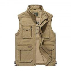 Plus Size Casual Outdoor Cotton Multi Functions Loose Vests for Men -
