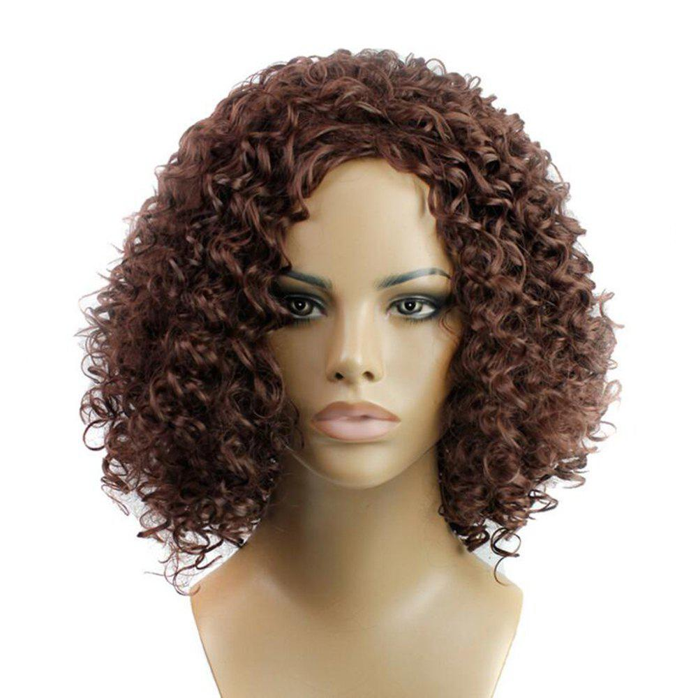 2018 Dark Brown Short Kinky Curly Anime Party Cosplay Full Wig For ...