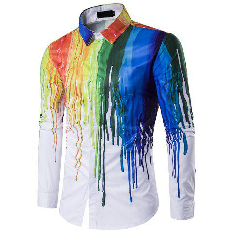 Fashion Men'S Personality 3D Ink Design Polo Shirt SizeC118