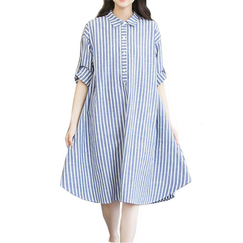 Affordable Women S Going Out Casual Daily Plus Size Simple Cute Loose  Striped Shirt Collar Asymmetrical Long 4dbeeb844a04