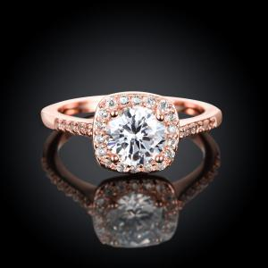 Engagement Rings 18K Rose Gold Plated Luxury Shining Anniversary Gift Wedding Bands Jewelry -