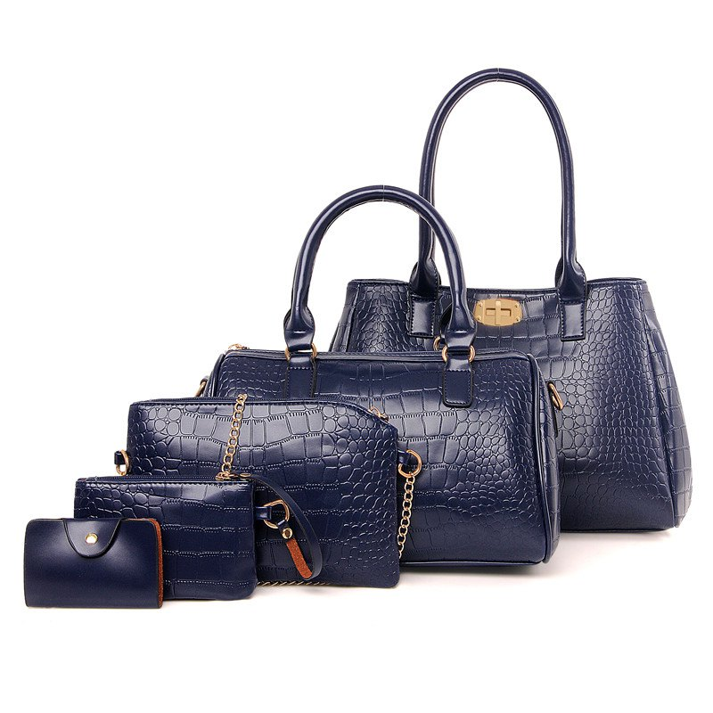 Sale Crocodile Pattern Five Pieces of Mother Bag Shoulder Bag Diagonal Package