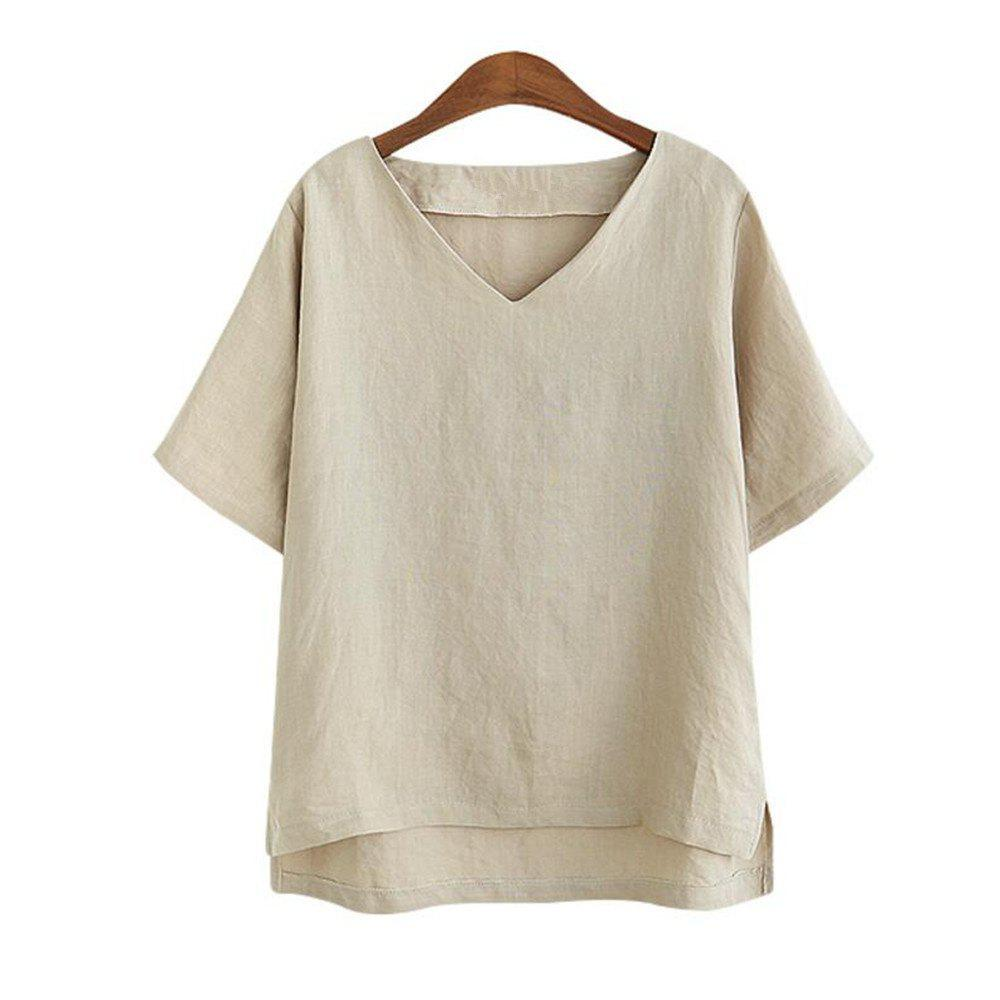 Fancy V Collar Loose Casual Linen and Short Sleeved T-shirt