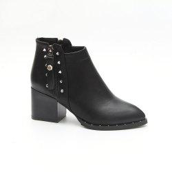 JLY668 Spring and Autumn Comfortable Leisure Fashion Side Zipper Solid Round Boots -