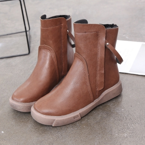 XD688 Winter Shoes with Velvet Warm and Comfortable Leisure Pure Short Tube Flat Heel Boots -