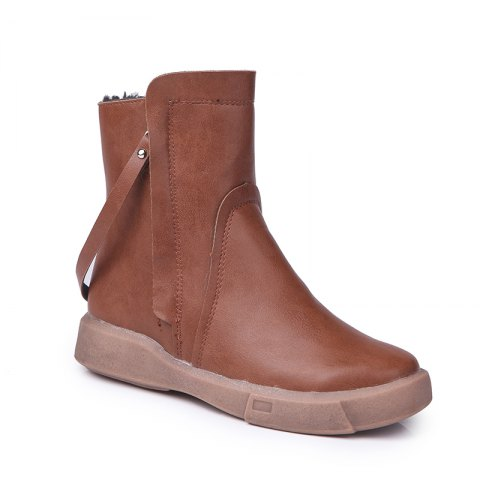Trendy XD688 Winter Shoes with Velvet Warm and Comfortable Leisure Pure Short Tube Flat Heel Boots