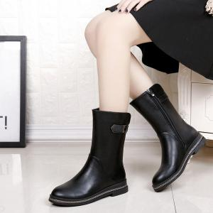 WS001 Winter with Cotton Warmth and Antiskid Sole Comfortable Fashion Pure Color Medium Martin Boots -