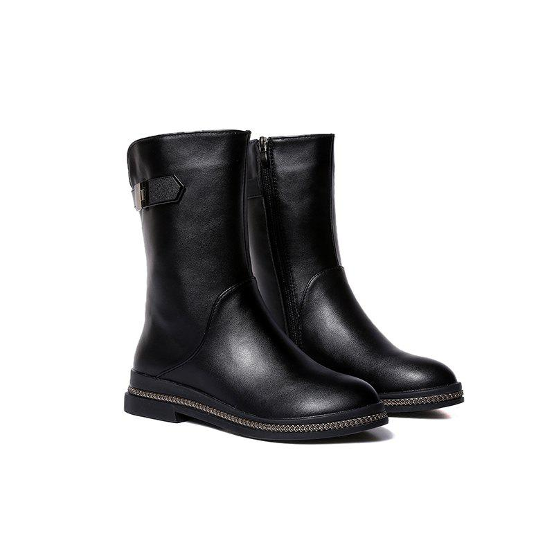 Affordable WS001 Winter with Cotton Warmth and Antiskid Sole Comfortable Fashion Pure Color Medium Martin Boots