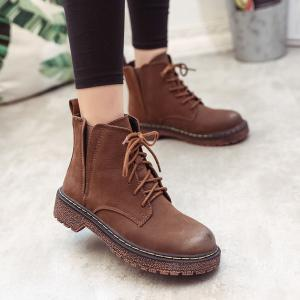 MYPC1-127 Shoes with Cashmere Rubber Sole Comfort Fashion Pure Color Short Tube Flat Heel Round Head Martin Boots -