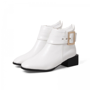 Women Shoes Zip Square Toe Low Heel Ankle Boots -