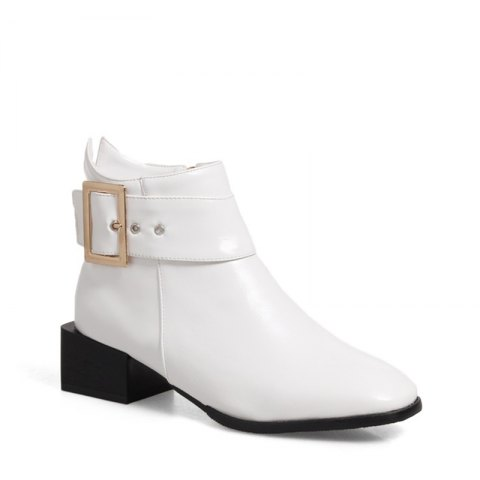 New Women Shoes Zip Square Toe Low Heel Ankle Boots
