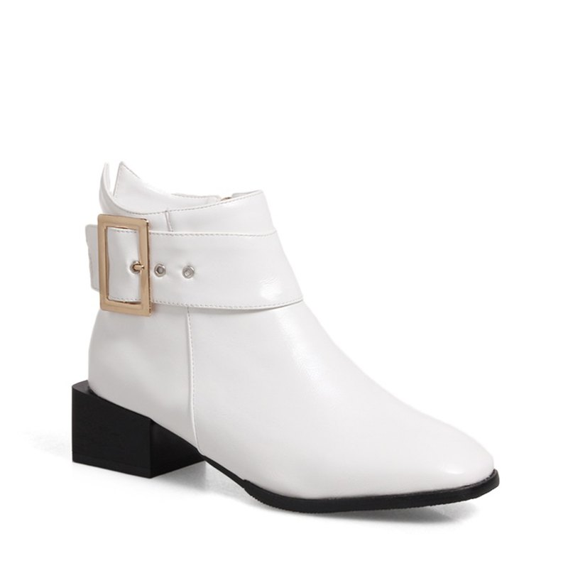 Fancy Women Shoes Zip Square Toe Low Heel Ankle Boots