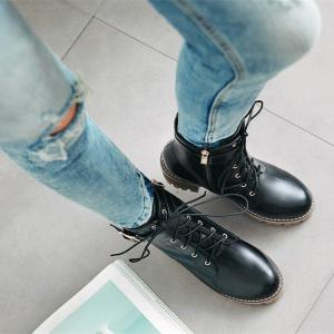 Women Shoes Lace-up ZipChunky Heel Combat Boots -