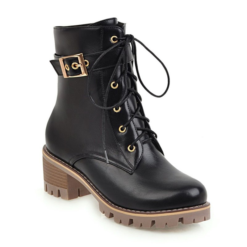 Online Women Shoes Lace-up ZipChunky Heel Combat Boots