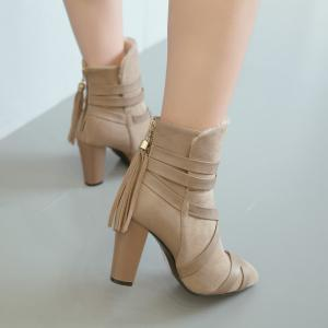 Women Shoes Zip Chunky Heel Pointed Toe Fashion Boots -