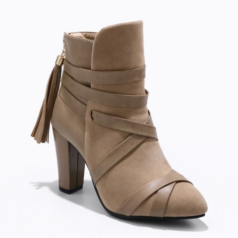 Fashion Women Shoes Zip Chunky Heel Pointed Toe Fashion Boots