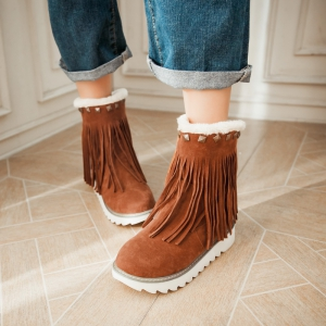 Women Shoes Round Toe Platform Tassel Snow Boots -