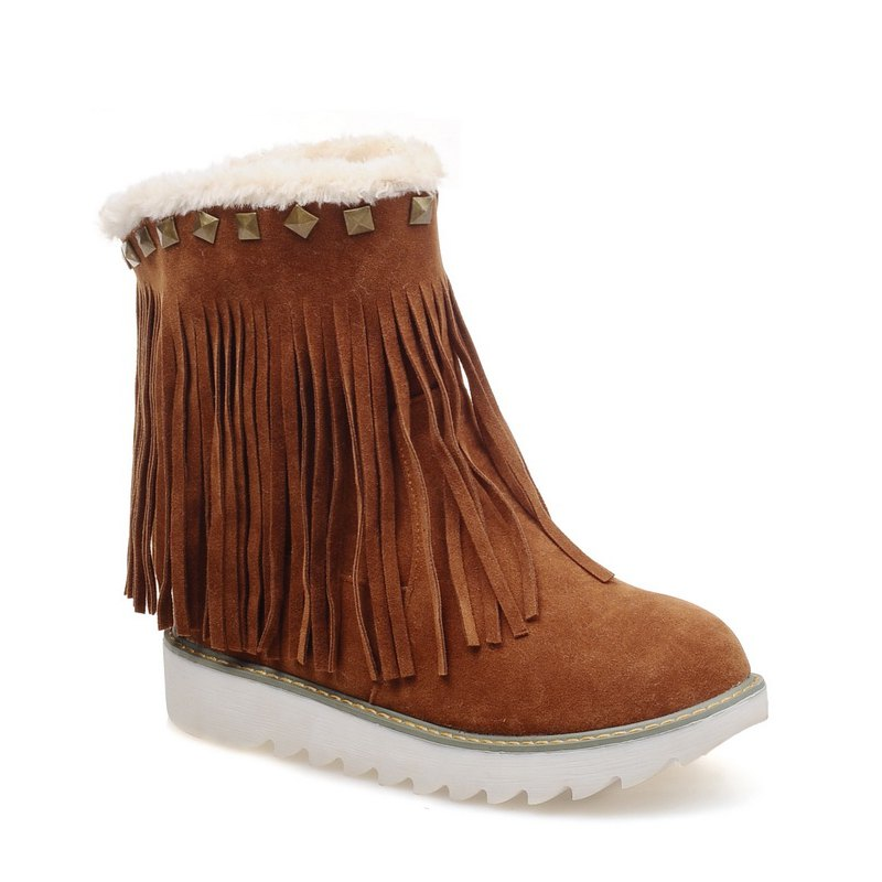 Sale Women Shoes Round Toe Platform Tassel Snow Boots
