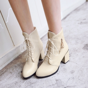 Women Shoes Lace-up Chunky Heel Round Toe Ankle Boots -