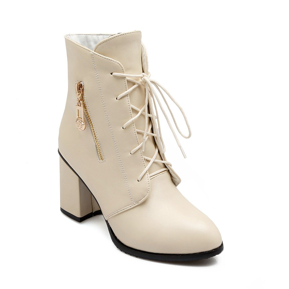 Discount Women Shoes Lace-up Chunky Heel Round Toe Ankle Boots
