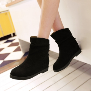 Women Shoes Height Increasing Round Toe Ankle Boots -