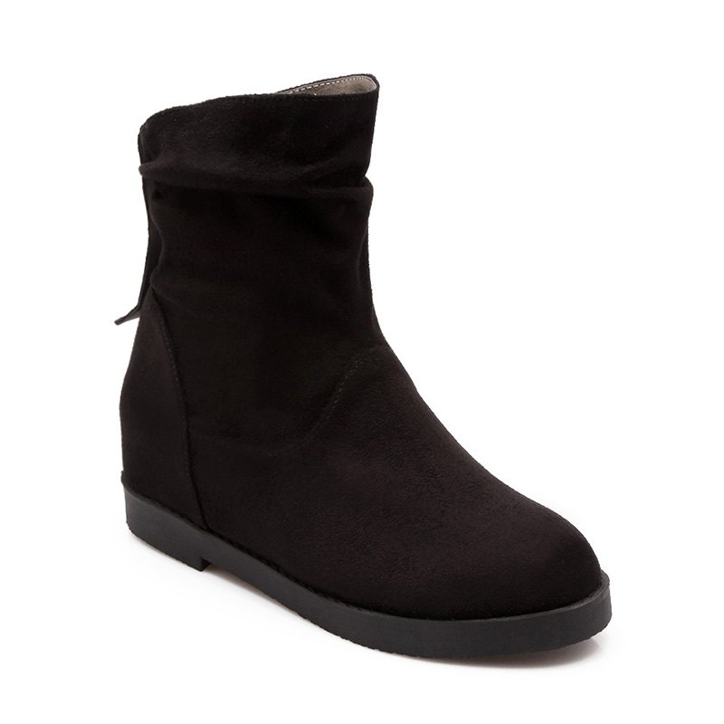 New Women Shoes Height Increasing Round Toe Ankle Boots