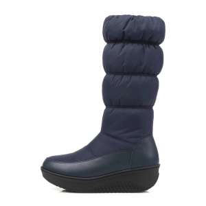 Women Shoes Nylon Zip Round Toe Snow Boots -