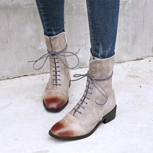 Women Shoes Zip Lace-up Low Heel Round Toe Combat Boots -