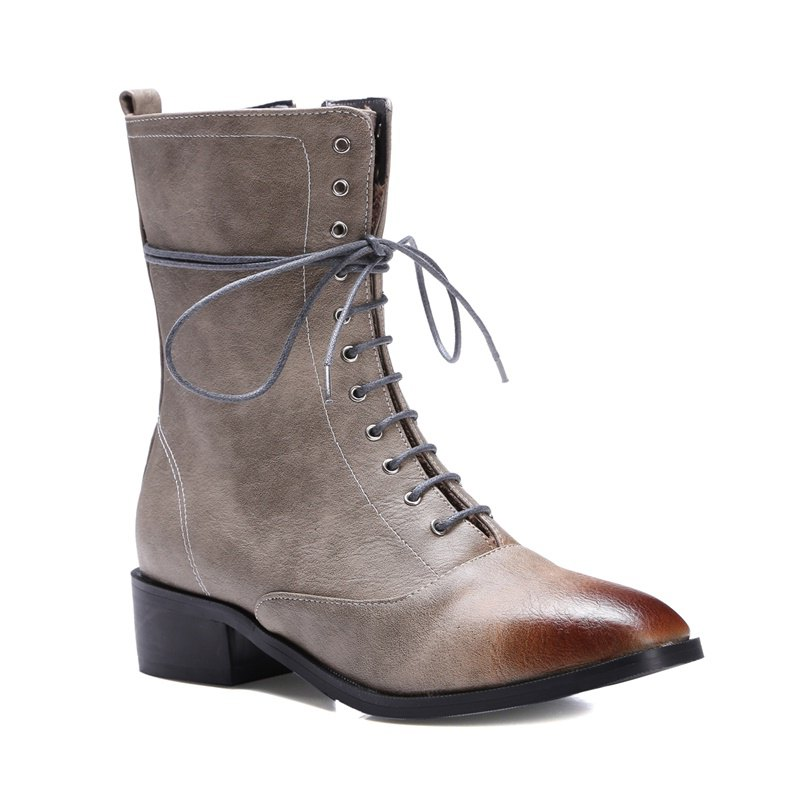 Fashion Women Shoes Zip Lace-up Low Heel Round Toe Combat Boots