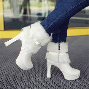 Women Shoes Round Toe Sweet Bowtie Ankle Boots -