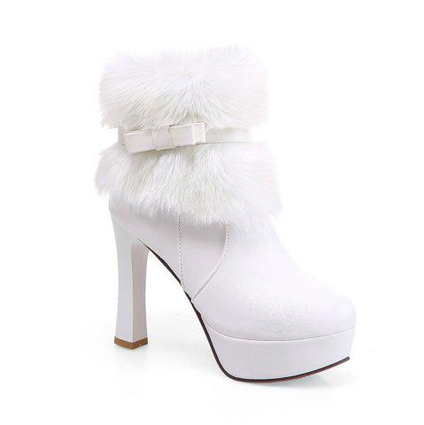 Chic Women Shoes Round Toe Sweet Bowtie Ankle Boots
