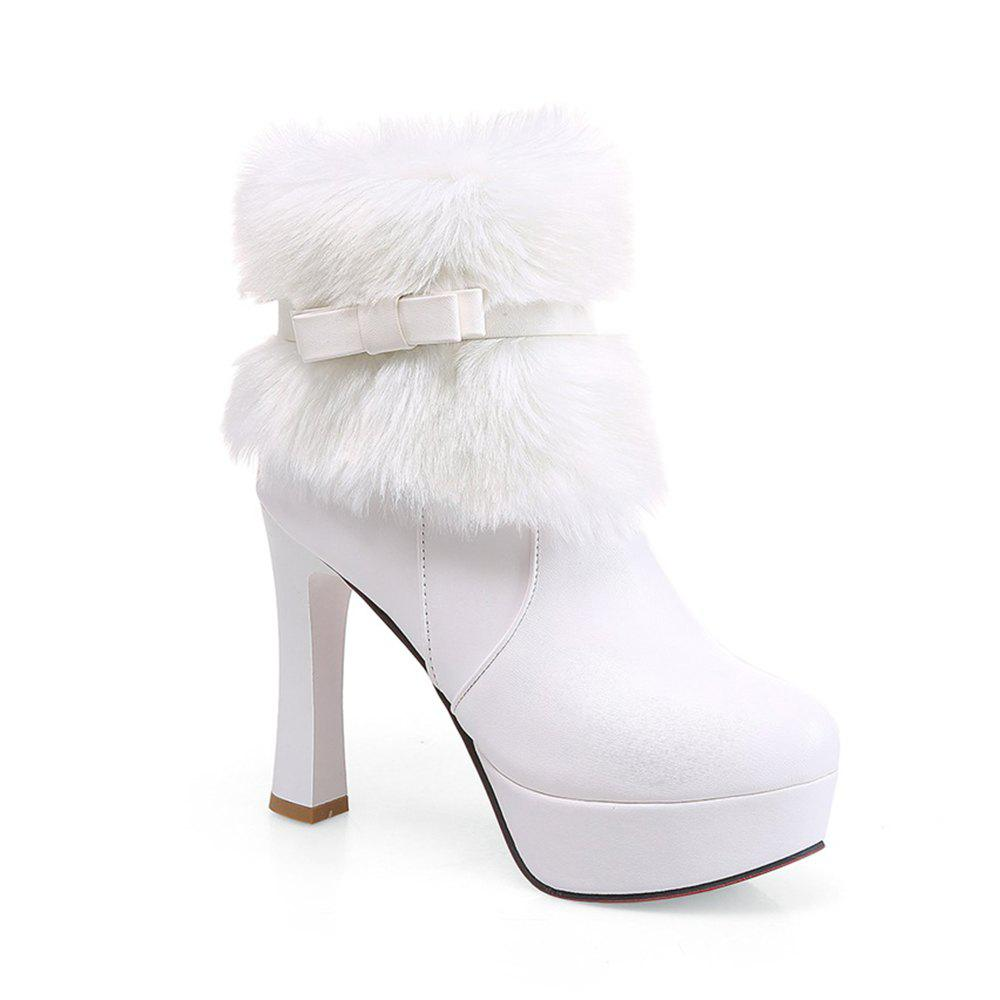 Shops Women Shoes Round Toe Sweet Bowtie Ankle Boots
