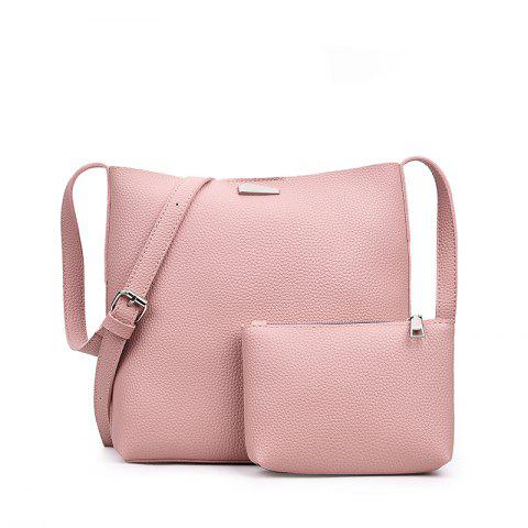 Trendy Two-piece Fashion Litchi Grain Water Bucket Female Bag